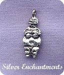 Sterling Silver Venus of Willendorf Charm Fertility Earth Goddess Charm, Beader Bailed