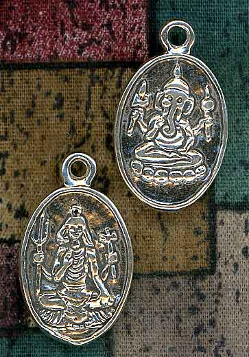 Sterling Silver Shiva And Ganesh Pendant Hindu Jewelry