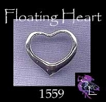 Sterling Silver Floating Heart Charm, Floating Heart Necklace