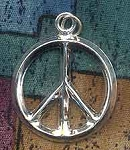 Sterling Silver Thick Peace Symbol Pendant