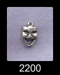 Sterling Silver Comedy Mask Charm, 12x8mm Drama Mask Necklace, Thespian Jewelry