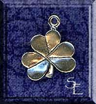 Sterling Silver Double-Sided Clover Charm, Clover Jewelry