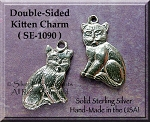 Sterling Silver Kitten Charm, Double Sided Cat Jewelry