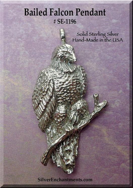 Sterling Silver Falcon Pendant Falcon Necklace