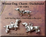 Sterling Silver Dachshund Dog Charm, 3-Dimensional Wiener Dog Jewelry