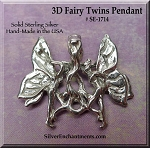 Sterling Silver 3D Fairy Twins Pendant, Fairy Necklace