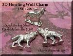 Sterling Silver Wolf Charm, 3D Howling Wolf Necklace