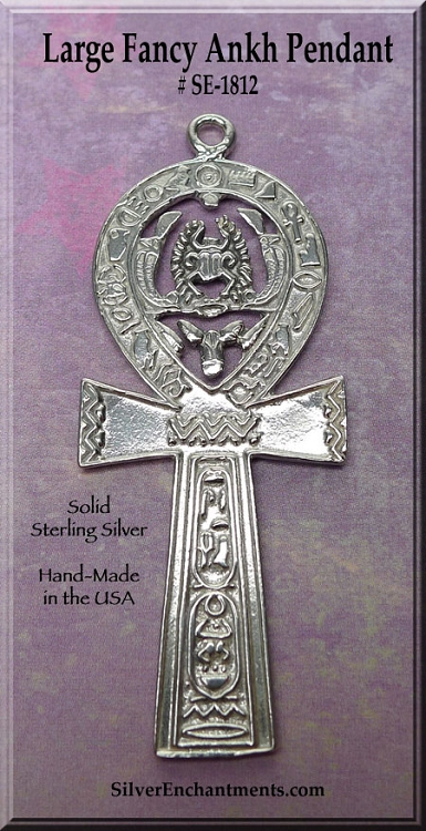 Sterling Silver Large Ankh Pendant With Hieroglyphs