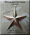 Sterling Silver Pentagram Star Charm, Puff Star Pendant Jewelry, 20mm