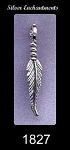 Sterling Silver Feather Pendant Charm Pendant, 28x5mm Bailed Feather Jewelry