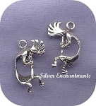 Sterling Silver Kokopelli Pendant, 25x16x8mm