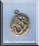Sterling Silver Oval Om Charm, 16x13mm Aum Jewelry