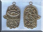 Sterling Silver Ornate Hamsa Pendant, Large Evil Eye Warding Jewelry, 30x20mm