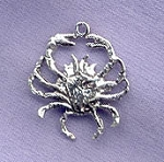 Sterling Silver Cancer Zodiac Charm, Crab Charm