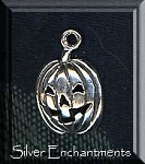 Sterling Silver Jack-O-Lantern Charm, Pumpkin Necklace, Halloween Charm