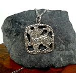 Sterling Silver Celtic Cat Necklace, Celtic Cat Pendant, Celtic Jewelry, Cat Jewelry