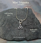 Sterling Silver Triquetra Charm Necklace, Celtic Jewelry