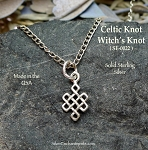 Sterling Silver Small Celtic Witch Necklace, Celtic Knot Charm Necklace, Celtic Jewelry