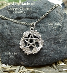 Sterling Silver Woodland Pentacle Necklace, Druidic Pentagram Charm-Pendant, Pagan Jewelry, Druid Jewelry