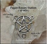 Sterling Silver Pentacle Rosary Centerpiece, Pagan Y Necklace Finding, .925 Rosary Part