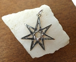 Sterling Silver Septagram 7 pointed Star Pendant with 6mm Cab Area