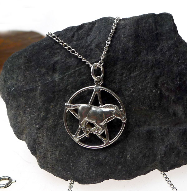 Sterling silver horse pentacle necklace horse pentagram pendant sterling silver horse pentacle necklace horse pentagram pendant wiccan pagan jewelry aloadofball Gallery