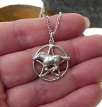Sterling Silver Horse Pentagram Pendant, Horse Pentacle Necklace Pendant, Pagan-Wiccan Jewelry