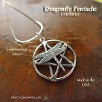 Sterling Silver Dragonfly Pentacle Necklace, Dragonfly Pentagram Pendant Jewelry