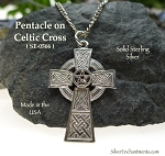 Sterling Silver Pentacle on Celtic Cross Pendant., Christo-Pagan Necklace Jewelry