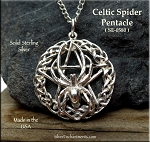 Sterling Silver Celtic Spider Pentacle Pendant, Celtic Spider Pentagram Jewelry