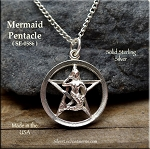 Sterling Silver Mermaid Pentacle Pendant, Mermaid Pentagram Jewelry