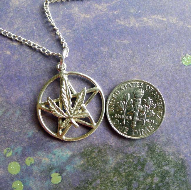 Sterling Silver Marijuana Pentacle Necklace Hemp Leaf