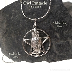 Sterling Silver Owl Pentacle Pendant, Owl Pentagram Necklace