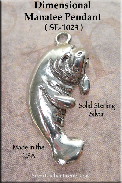 Sterling Silver Manatee Pendant Dimensional Manatee Necklace