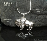 Sterling Silver Buffalo Pendant Necklace - Southwestern Bison Jewelry