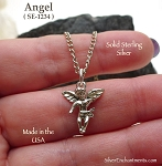 Sterling Silver Angel Charm, Baby Angel Necklace