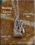 Sterling Silver Boxing Glove Charm, 3-Dimensional Boxing Jewelry