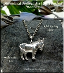 Sterling Silver Donkey Pendant, Donkey Necklace, Animal Jewelry