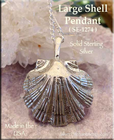 Sterling silver extra large scallop seashell pendant 3 dimensional sterling silver extra large scallop seashell pendant 3 dimensional large seashell jewelry aloadofball Images
