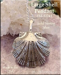 Sterling Silver Extra-Large Scallop Seashell Pendant, 3-Dimensional Large Seashell Jewelry