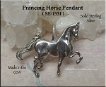 Sterling Silver Prancing Horse Pendant, Bailed Horse Jewelry