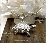 Sterling Silver Turtle Pendant, Turtle Jewelry