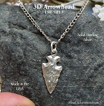 Sterling Silver Arrowhead Charm, 3D Arrowhead Jewelry