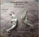 Sterling Silver Moon Jewelry Connector, 27x10mm Crescent Moon Jewelry Findings (1)