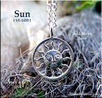 Sterling Silver Ringed Sun Pendant, Bailed Sun Necklace