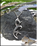 Sterling Silver Celtic Horse Necklace, White Horse of Uffington Pendant