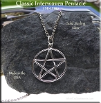 Pentacle Jewelry, Sterling Silver Classic Interwoven Pentacle Charm Pendant, Pentagram Necklace