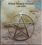 Sterling Silver Wheel Pentacle Pendant, 30mm Traditional Pentacle Necklace