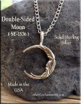 Sterling Silver Double-Sided Crescent Moon Charm, Bailed