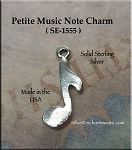 Sterling Silver Music Note Charm, Small Music Note Jewelry, Musician